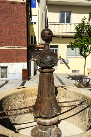 Water fountain, also called Fountain of Cats, in the village of Sabugal, Portugal