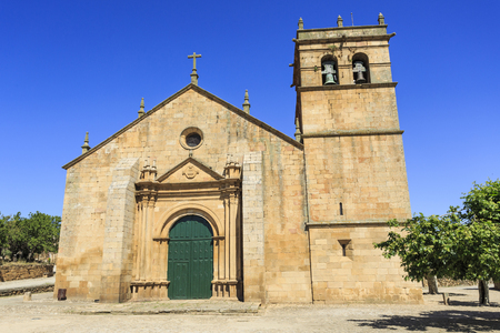Facade of the sixteenth century Mannerist Church of Our Lady of the Angels in Almendra, Portugal