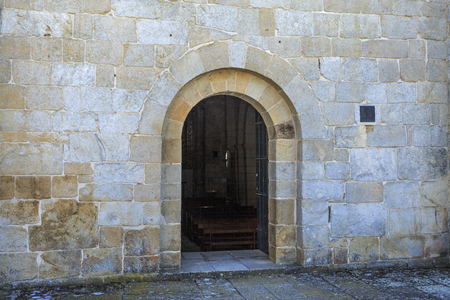 Romanesque perfect arch at the entrance to the Cistercian Church of Santa Maria de Aguiar, built in the 12th century near the historic village of Castelo Rodrigo, Portugal 写真素材