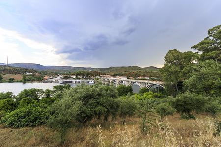 View of the river cruise terminal and bridge, in Barca de Alva, near the Spanish border, Portugal