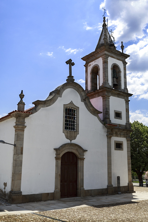Facade of the parish church, or Church of St Louis, built in Baroque style in early 17th century, in Pinhel, Portugal