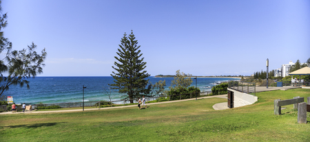 Panoramic view over the coast line from a high point of a popular park in Mooloolaba, Sunshine Coast, Australia