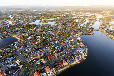 Huge number of grandiose houses with mooring pontoons along the waterways of the Gold Coast, Queensland, Australia
