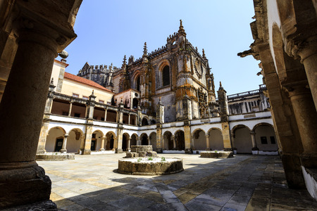 The Hostelry Cloister built in early 16th century specifically to provide temporary accommodation for guests and pilgrims of St James, in the Convent of Christ, Tomar, Portugal