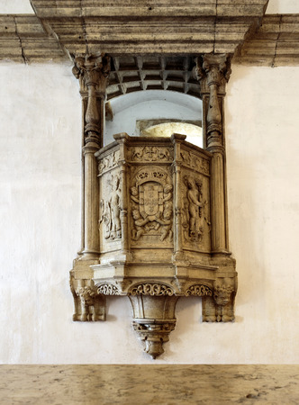 View of the superb carvings decorating the pulpits reserved for reading during mealtimes, in the refectory of the Convent of Christ, Tomar, Portugal