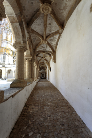 View of the narrow ambulatory of the Hostelry Cloister, in the Convent of Christ, Tomar, Portugal