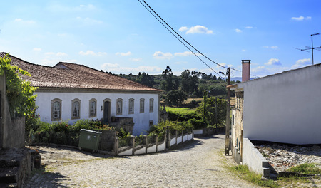 Magnificent facade of the 18th century Cerveiras Manor, a rural property located in Mesquitela, Guarda, Portugal Banco de Imagens - 126334429