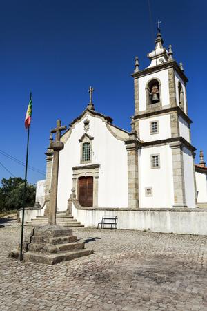 View of the 18th century parish church in Mesquitela, Gouveia, Portugal Stock Photo