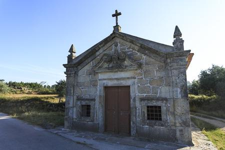 Facade of the Baroque Chapel of St John in Mesquitela, Gouveia, Portugal Stock Photo