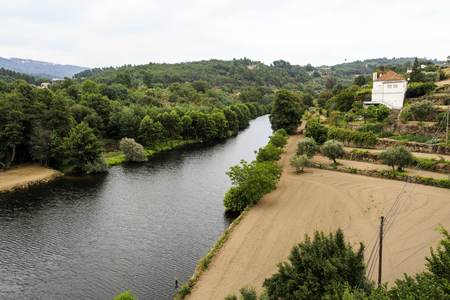 View of Mondego River, the longest river located exclusively in Portuguese territory, near Celorico da Beira, Beira Alta, Portugal.