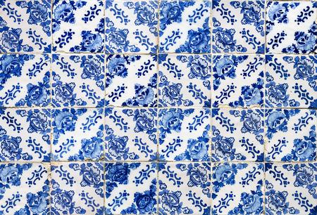 18th century blue tiles covering the facade of the Baroque Church of Mercy in the city of Gouveia, Beira Alta, Portugal Foto de archivo