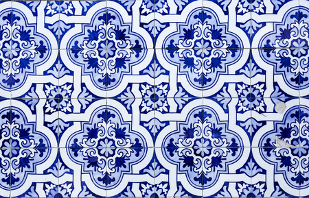 Traditional Portuguese blue tiles covering the facade of the Church of Saint Peter in the city of Gouveia, Beira Alta, Portugal