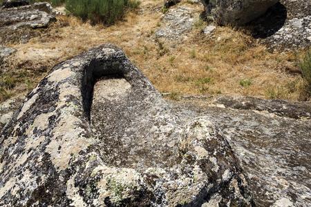 View of a granite rock cut non-anthropomorphic grave at the St Gens Necropolis Site near Celorico da Beira, Beira Alta, Portugal
