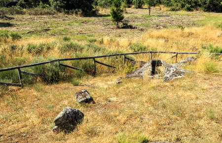 View of Early Middle Ages non-anthropomorphic grave of the 7th or 8th century at the Forcadas Necropolis Site near Fornos de Algodres, Beira Alta, Portugal