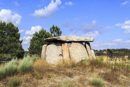 The Dolmen of Cortico, or the House of Orca, near Fornos de Algodres, Portugal, is a burial chamber with nine pillars cover by a hat, built in the final Neolithic period (circa 2900-2640 B.C).