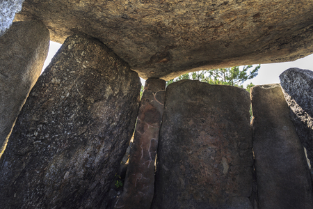 Inside view of the stones forming the burial chamber of the Dolmen of Cortico, in Fornos de Algodres, Portugal