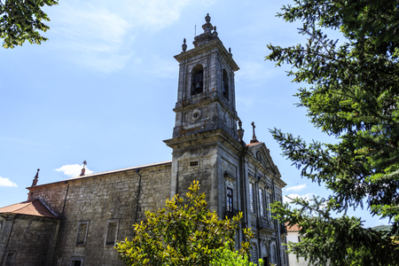 Facade of St Peter Church built in the 19th century in neoclassical architectural style in Castro Daire, Portugal