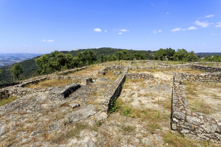 View of the Bronze Age Settlement, or chester, also called Castro of Monte Padrao, built in the 9th century BC and active until the late Middle Ages, in Santo Tirso, Portugal