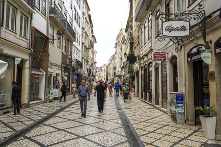 View of a pedestrian zone in downtown of the historical area of Coimbra, Portugal