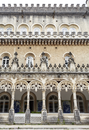 Detail of the Palace Hotel of Bussaco, a luxury hotel built in late 19th century in Neo-Manueline architectural style, located near Coimbra in central Portugal