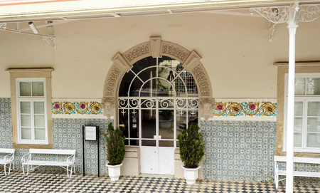 Main entry to the Art Nouveau Casino do Luso built in 1886 and being a fine architectural example of the Belle Epoque aesthetic, in Luso, Portugal