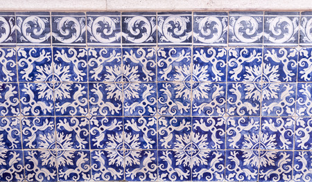 Historic tiles panel with geometric pattern at the Santa Luzia belvedere in Lisbon, Portugal