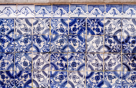 Historic tiles panel with floral and geometric motifs at the Santa Luzia belvedere in Lisbon, Portugal Stock Photo