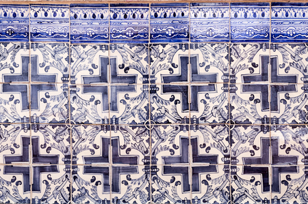 Historic tiles panel with geometric motifs at the Santa Luzia belvedere in Lisbon, Portugal