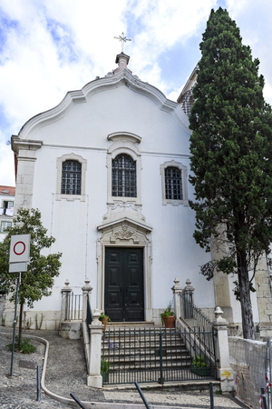 Facade of the Church of St James, rebuilt in the 18th century, in Lisbon, Portugal
