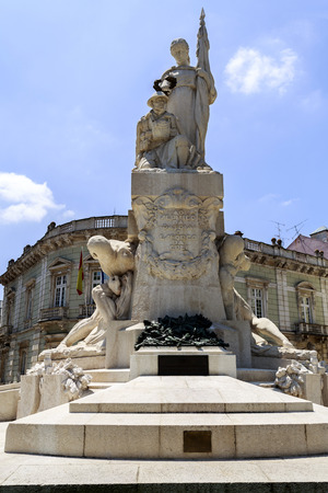 View of the monument honouring the Portuguese combatants in World War I, in downtown Lisbon, Portugal.Sculpture by Maximiano Alves.Transl: At the service of the Motherland, the effort of the People Editorial