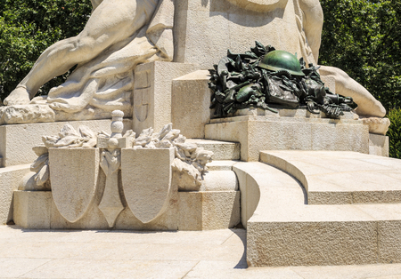 Detail of the monument honouring the Portuguese combatants in World War I, in downtown Lisbon, Portugal.Sculpture by Maximiano Alves. Editorial