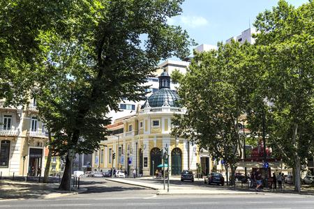 The Tivoli Theater, a national monument built in neoclassical architecture, seen from the Liberty Avenue (Avenida da Liberdade), in Lisbon, Portugal