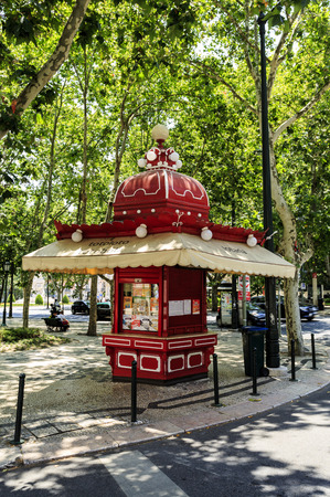 Kiosks are small and ornate structures in Art Nouveau andor Moorish style selling a variety of goods, such as lottery tickets in this case, at Liberty Avenue in Lisbon, Portugal