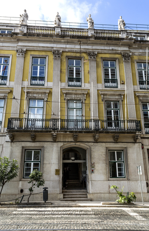 Palace in neoclassical architecture built in late 19th century in Lisbon, Portugal.