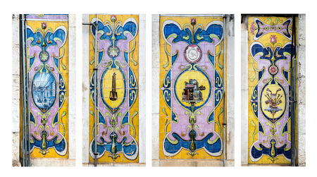 Composite image of four magnificent tile panels covering the walls between the entry doors of a commercial property in downtown the old city of Lisbon, Portugal