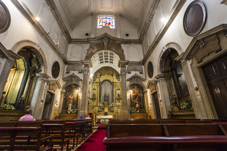 View of inside the Church of Our Lady of Victory (Igreja de Nossa Senhora da Vitoria), in neoclassical architecture and Baroque altarpiece, in Lisbon, Portugal