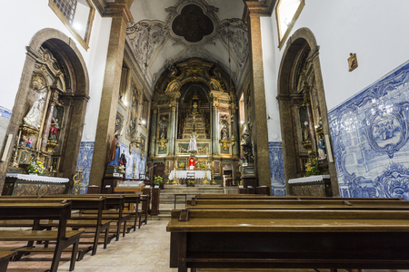 View of the magnificent interior of the small Church of the Flamengas at the Convent of Our Lady of Quietude, in Alcantara, Lisbon, Portugal Editorial