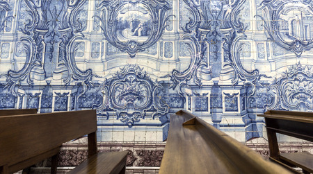 Detail of the superb blue tiles covering the walls of the small Church of the Flamengas at the Convent of Our Lady of Quietude, in Alcantara, Lisbon, Portugal Editorial