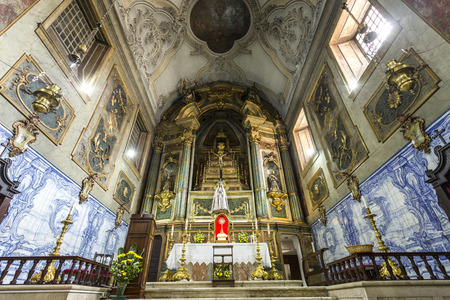 The altarpiece in the main chapel of the Church of the Flamengas at the Convent of Our Lady of Quietude, in Alcantara, Lisbon, Portugal