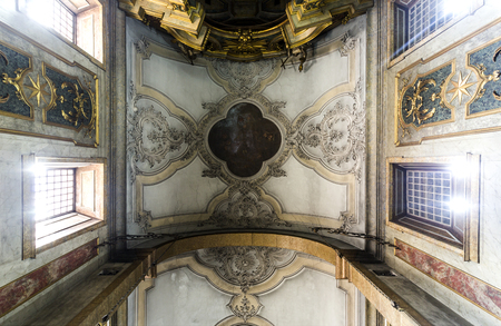 Painted ceiling of the main chapel of the Church of the Flamengas at the Convent of Our Lady of Quietude, in Alcantara, Lisbon, Portugal
