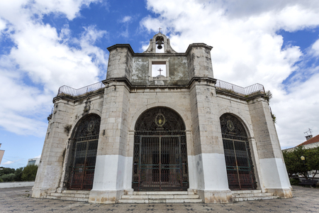 Facade of the Renaissance Chapel of Saint Amaro, built in the 16th century on a hill terrace overlooking the Tagus River in Lisbon, Portugal