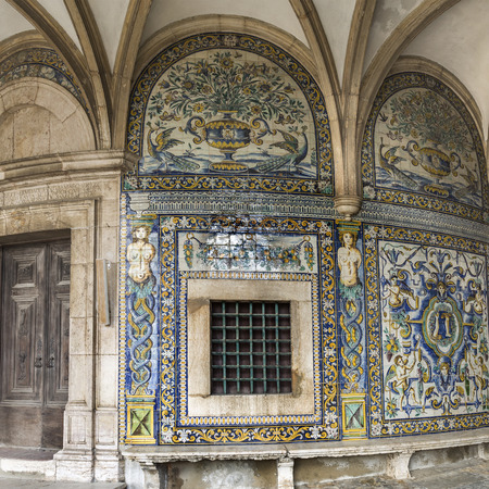 Detail of the 17th century polychromic tiles in mannerist style covering the walls of the front porch of the Chapel of Saint Amaro, in Lisbon, Portugal Editorial