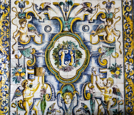 Detail of the superb polychromatic mosaic with a leg and an arm, the main motifs of the healing belief of Saint Amaro in the Chapel of Saint Amaro in Lisbon, Portugal
