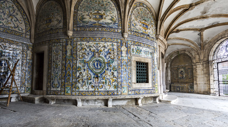View of the highly decorated walls with polychromatic tiles at the poorly maintained Chapel of Saint Amaro in Lisbon, Portugal Stock Photo - 120527034