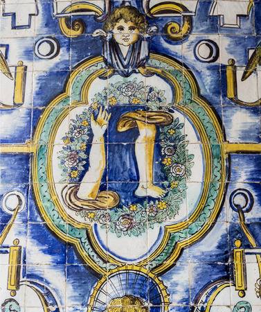 Detail of the superb polychromatic mosaics in the Chapel of Saint Amaro in Lisbon, Portugal Editorial