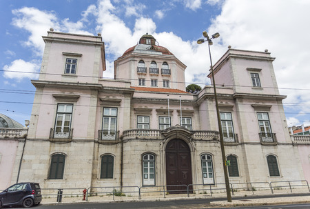 Facade of the Burnay Palace, also known as the Palace of the Patriarchs, built in early 18th century in Alcantara, Lisbon, Portugal Editorial