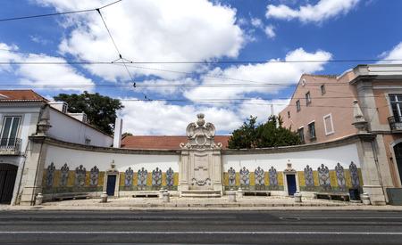 Portuguese architecture showing the Chafariz da Cordoaria, also know as Chafariz da Junqueira, built in early 19th century with lioz stone and traditional decorative tile panels, in Lisbon, PortugalTransl: Free Water; Year 1821 Editorial