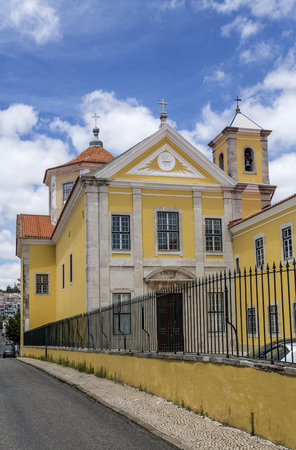 Facade of the neoclassical Church of Our Lady of the Visitation of the Salesian Sisters Convent in Lisbon, Portugal