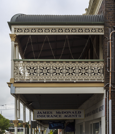 Detail of the heritage listed Imperial Hotel built in 1889 and ornamented with wrought iron balustrades and friezes, in Armidale, NSW, Australia Editorial