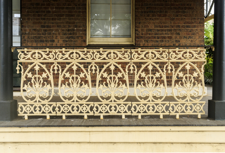 Detail of the balustrade of the heritage listed Lands Board Office, built in 1887, in Armidale, NSW, Australia Editorial